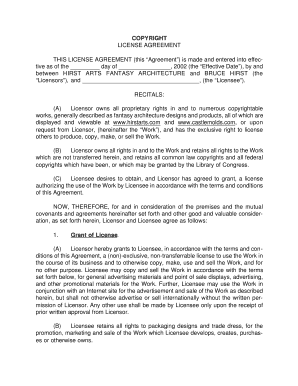 Editable Sample Copyright License Agreement To Submit Online