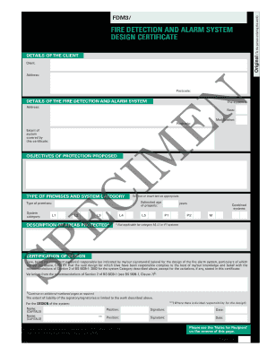 System design document forms and templates fillable for Fire alarm installation certificate template