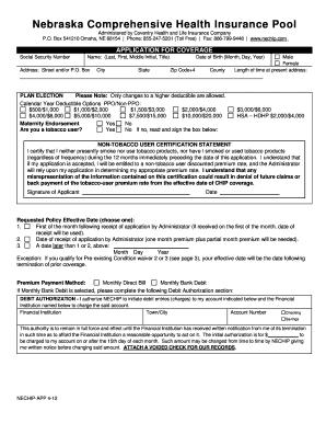 Fillable Online NE CHIP Application Form - Nebraska Comprehensive ...