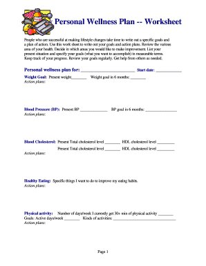 Event planning worksheet template forms fillable for Personal wellness plan template