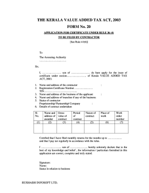 Printable adding name in birth certificate kerala templates to the kerala value added tax act 2003 form no 20 yelopaper Gallery