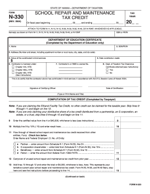 Fillable Online State of Hawaii Tax Form N330 Fax Email Print ...
