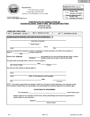 ohio secretary of state business search 2004  form