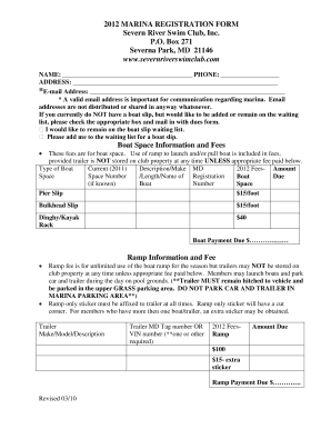 Fillable Online 2012 Marina Registration Form Severn River Swim Club Fax Email Print Pdffiller