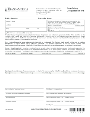 Monumental Change Of Beneficiary Form Fill Online Printable