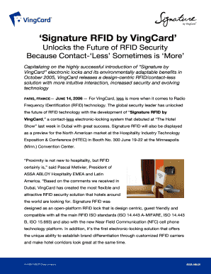 Fillable Online Signature by VingCard: The new electronic lock