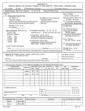 Fillable Online Application To American National Life Insurance Company Of Texas Fax Email Print Pdffiller