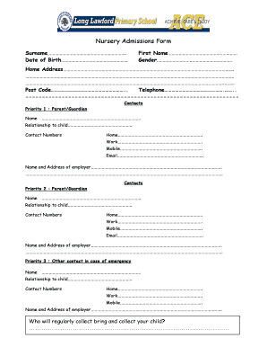 primary school admissions application form