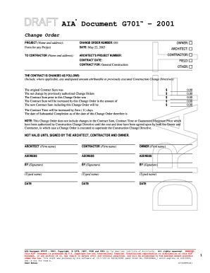 G701 form fill online printable fillable blank for Aia a305 template