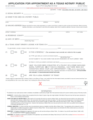 tx notary application form