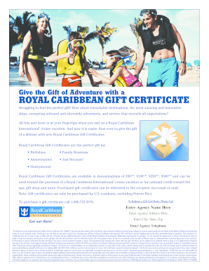 royal carribean gifts form