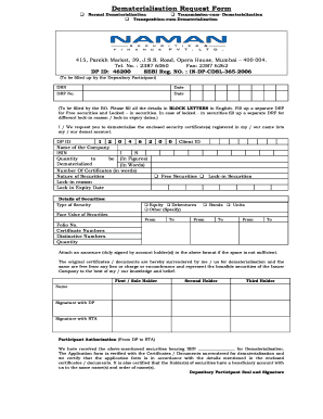 dematerialisation request no printed on drf form