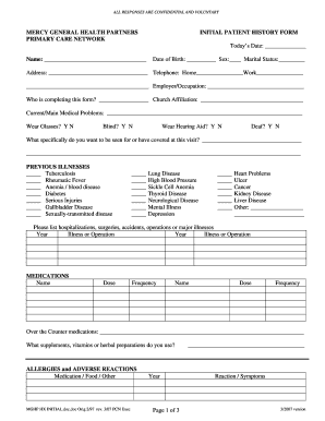 patient health history form template