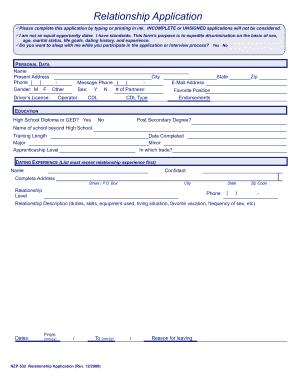Relationship Application - Fill Online, Printable, Fillable, Blank ...