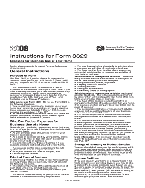 Fillable Online 2008 Instruction 8829. Instructions for Form 8829 ...