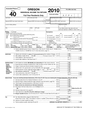 Fillable Online 2008 Form 40, Oregon Individual Income Tax Return ...
