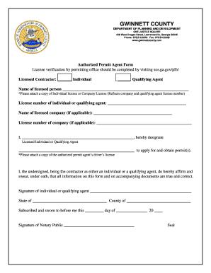 Fillable Online Authorized Building Permit Agent Form (PDF