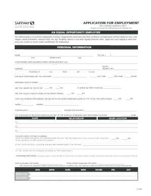 safeway application form Fill Online, Printable, Fillable, Blank ...