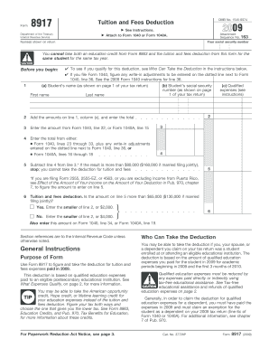 2009 Form IRS 8917 Fill Online, Printable, Fillable, Blank - PDFfiller