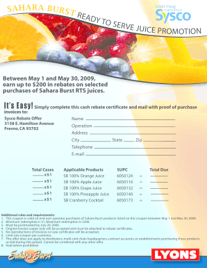 Sysco Coupon - Fill Online, Printable, Fillable, Blank  