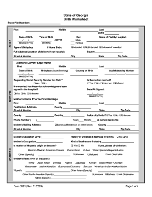 Birth Certificate Worksheet Forms and Templates - Fillable ...