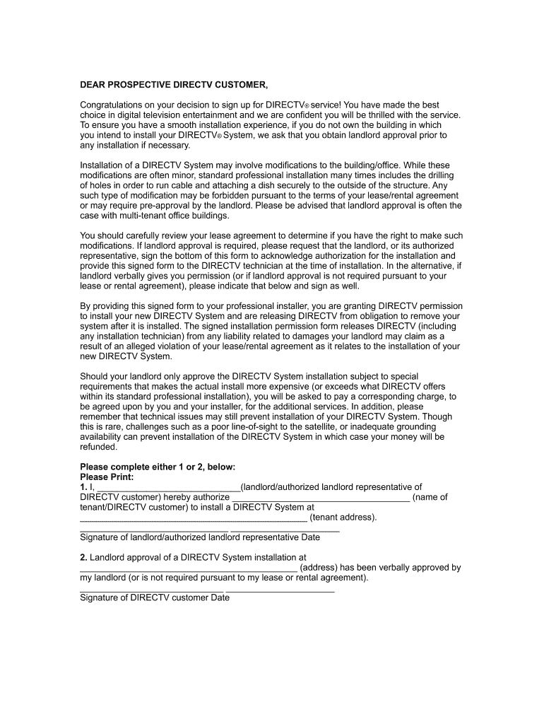 Direct Tv Landlord Approval Form Fill Online Printable