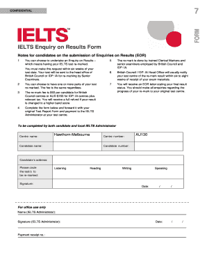Ielts Hawthorn Result Online - Fill Online, Printable, Fillable