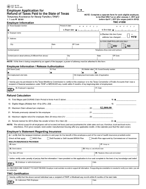 Employer Application For Refund Of Taxes Paid To The State Of ...