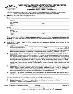 exclusive right to sell listing agreement texas pdf form