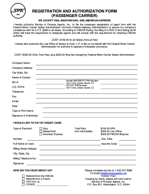Fmcsa Passenger Authorization Form Fill Online