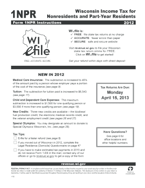 Wisconsin 2014 1npr fill online, printable, fillable, blank.