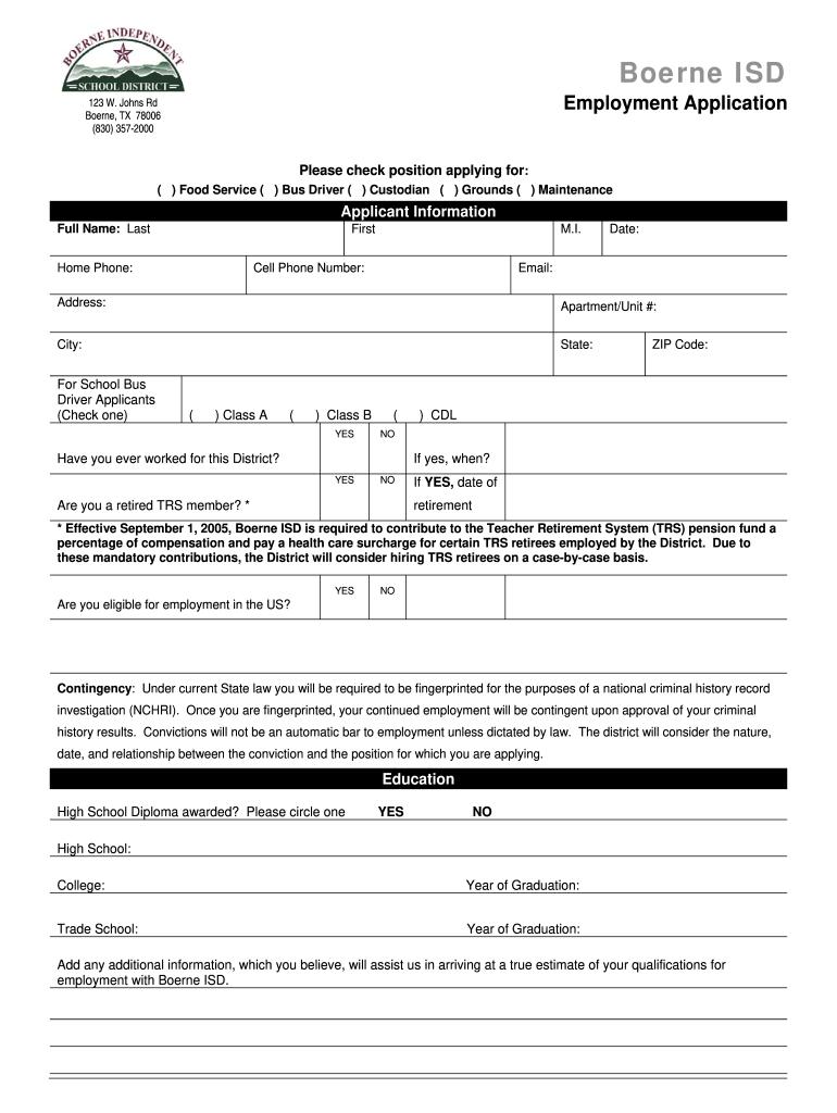 Boerne Isd Application Fill Online Printable Fillable Blank Pdffiller