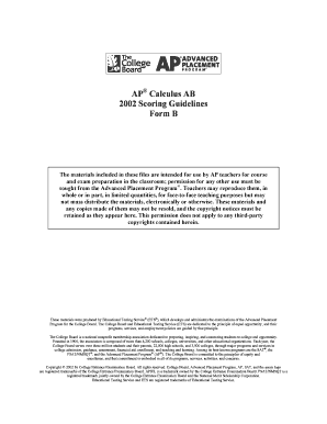 Ap Calculus Ab Scoring Guide 2006 Form B - Fill Online, Printable ...