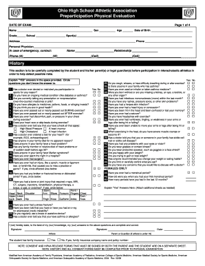 Ohio High School Athletic Association Physical Form - Fill Online ...