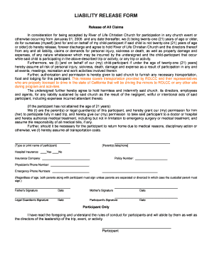 liability release form for children