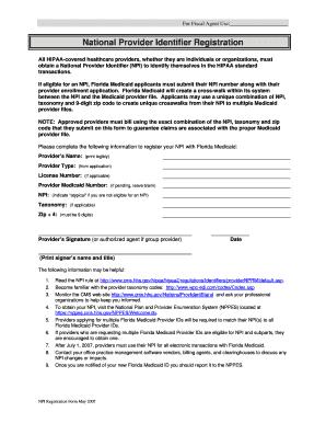 National Provider Identifier Registration Form Florida - Fill ...