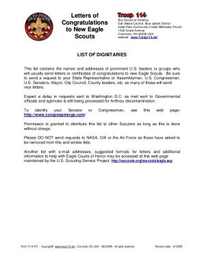 Sample Eagle Scout Congratulatory Letter Request Fill