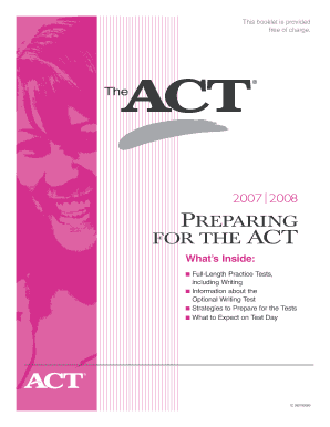 preparing for the act booklet form