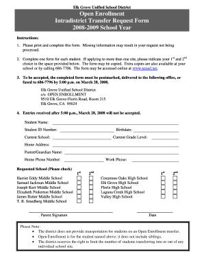 Elk Grove Unified School District Intradistrict Transfer Request ...