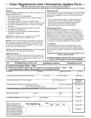Bill Of Sale Form Ohio Voter Registration Form Templates ...