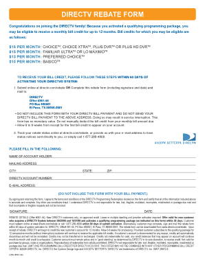 Fillable Online l b5z DIRECTV REBATE FORM - l b5z Fax Email Print ...
