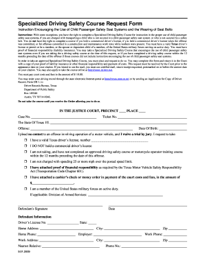 driving safety request form texas