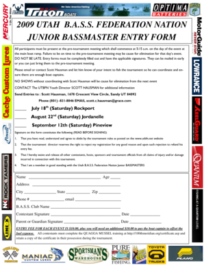2009 Youth Entry Form - Utah Bass Nation