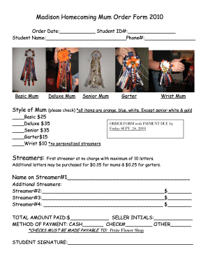 homecoming mum order form  Homecoming Mum Order Form Template - Fill Online, Printable ...