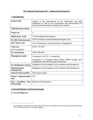 Annex 15 Template Of Project Fiche For IPA Programmes Component I