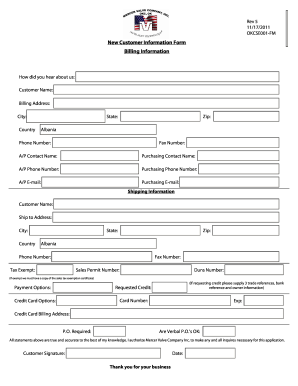 Retail Customer Information Form  Customer Contact Information Form