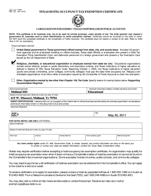 Texas Tax Exempt Form Hotel Fillable - Fill Online, Printable ...
