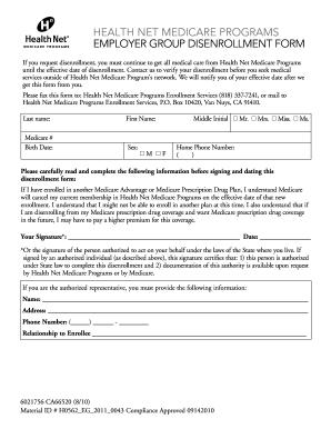 Health Net Disenrollment Form