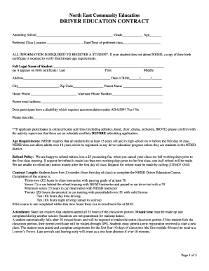 neisd drivers ed Neisd Drivers Ed Contract - Fill Online, Printable, Fillable, Blank ...