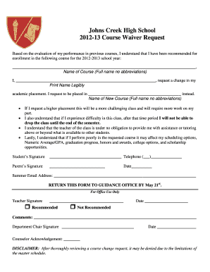 High School Waiver Form - Fill Online, Printable, Fillable, Blank ...